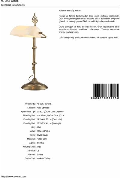 AVONNI ML-9063-WHITE Beyaz Boyalı Masa Lambası E27 Metal Cam 30x20cm