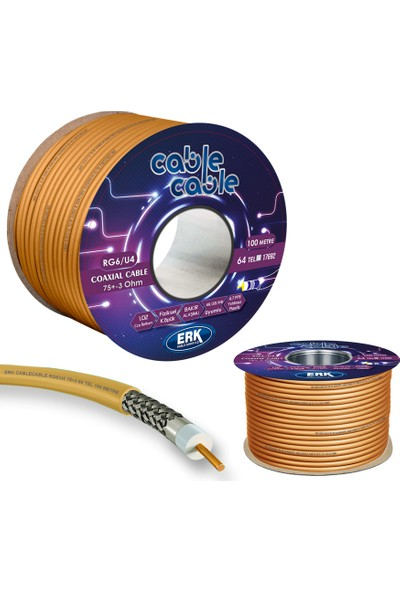 Erk Uydu Anten Kablosu Rg6/U4 64Tel Goldplus 100 Metre