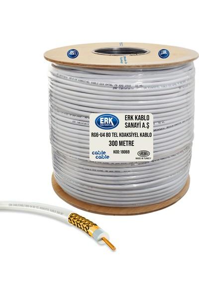 Erk Uydu Anten Kablosu 300 Metre Rg6/U4 Bakır Alaşım Gold 80Tel