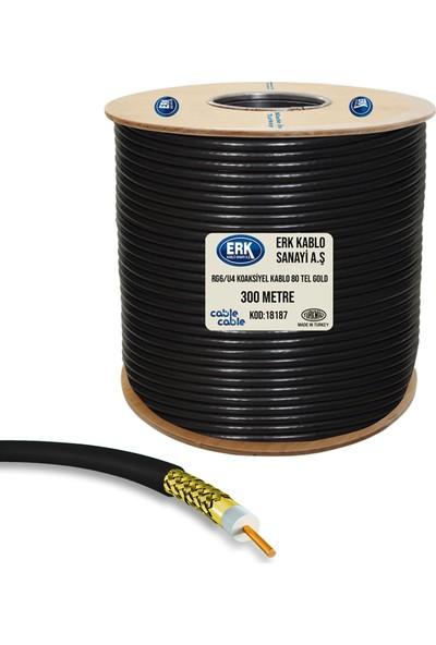 Erk Uydu Anten Kablosu Rg6/U4 80Tel Gold Bakır Alaşım 300 Metre Siyah