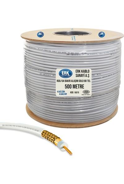 Erk Uydu Anten Kablosu 500 Metre Rg6/U4 Bakır Alaşım Gold 80Tel