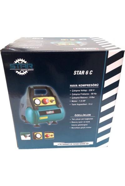 Attlas Star Profesyonel Monofaze Yağsız Kompresör 6C 6Lt 8 Bar