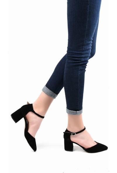 Sapin 23016 Kadın Topuklu Ayakkabı Siyah Süet