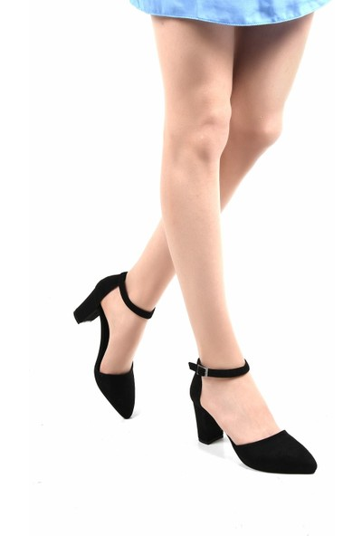 Sapin 23017 Kadın Topuklu Ayakkabı Siyah Süet