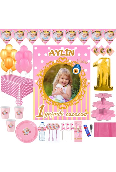Magnet Parti Kız Bebek Doğumgünü Parti Seti Yaş Günü Parti Seti Fotoğraflı Set