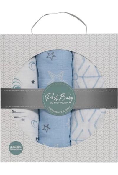Posh Baby 3'lü Müslin Örtü Mavi