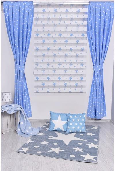 Mavi Yıldızlı Fon Perde