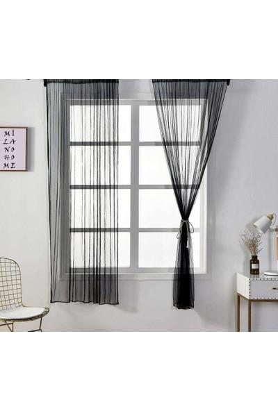 Milano Home Rüya Tül Perde Kullanıma Hazır Ekstraforlu Siyah - 100X250