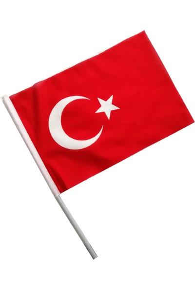 Türk Bayrağı Sopalı Raşel Kumaş 100 Adet