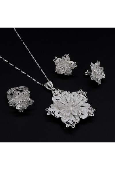 Akyüz Gümüş Telkari İşlemeli Gümüş Set 126
