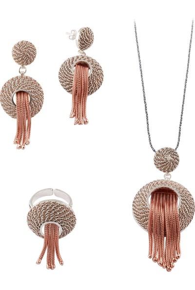 Akyüz Gümüş Hasır Püsküllü Roz Telkari Gümüş Set 123