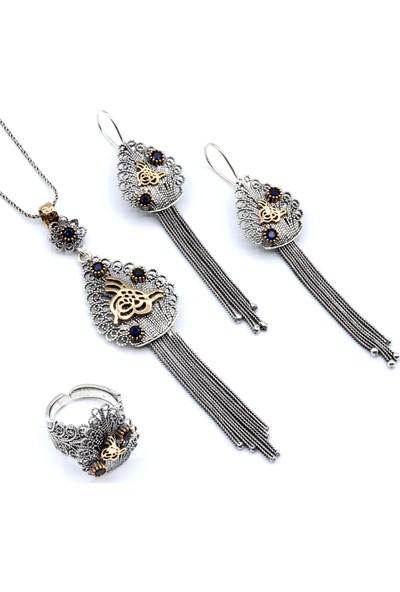 Akyüz Gümüş Osmanlı Tuğralı Hasır Püsküllü Telkari Gümüş Set 135