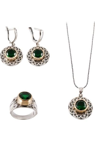 Akyüz Gümüş Yeşil Zirkon Taşlı Çekiç Dövme Gümüş Set 022