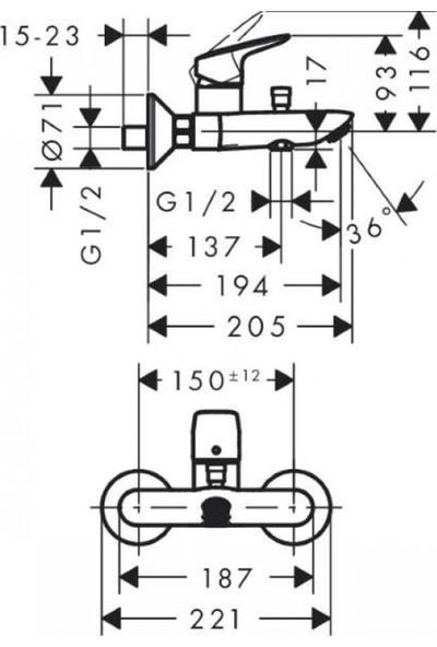 Hansgrohe - Logis Tek Kollu Aplike Banyo Bataryası