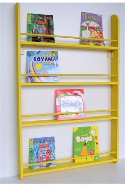 Şahin Mobilya Çocuk Odası Dekor Ahşap Soft Montessori Kitaplık Sarı