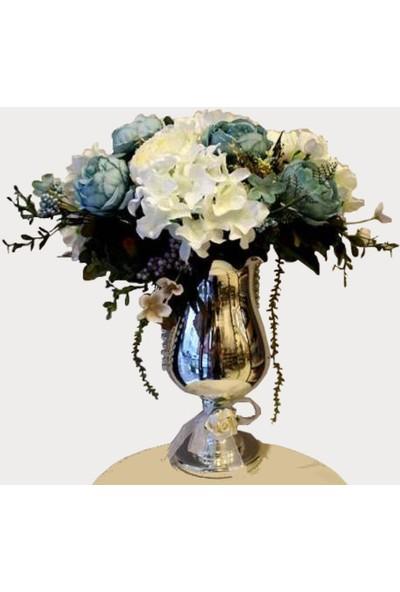 Happy Peyzaj Cam Vazoda Dekoratif Yapay Çiçek
