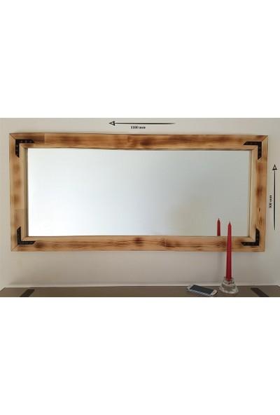 NEOSTİLL -Doğal Ahşap Dekoratif Salon Duvar Ayna 110x50 Eskitme