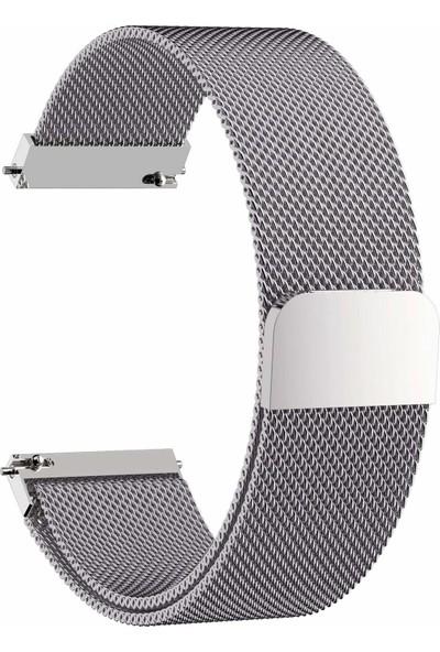 Markacase Samsung Galaxy Watch 46 mm İçin Milanese Mıknatıslı Kordon Gümüş