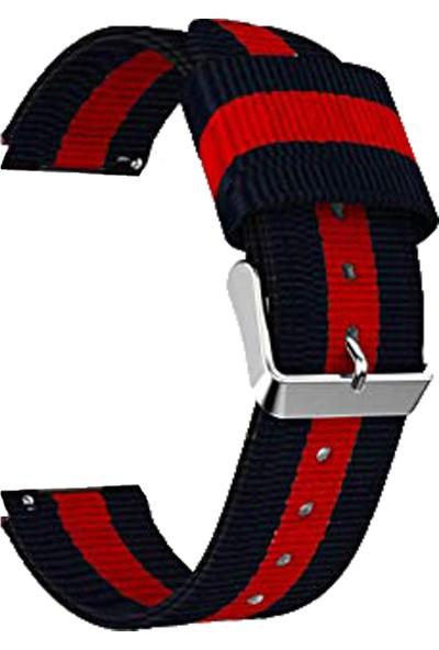 Markacase Galaxy Watch İçin 46 mm Pantheon Şeritli Siyah Kırmızı Kayış
