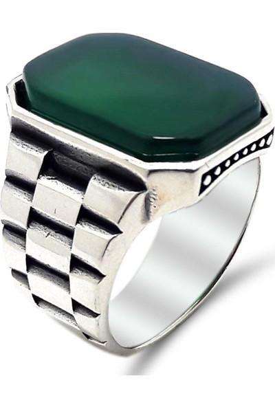 Gümüşçü Gümüş Yeşil Akik Taşlı Saat Kordonu Erkek Yüzük