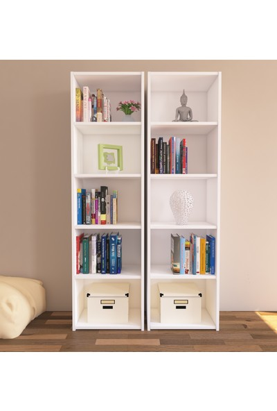 Nur Mobilya Zeyna 2'li Kitaplık Seti Beyaz