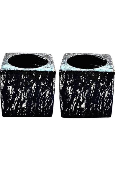 Merland Siyah Beyaz Küp Mumluk Setı