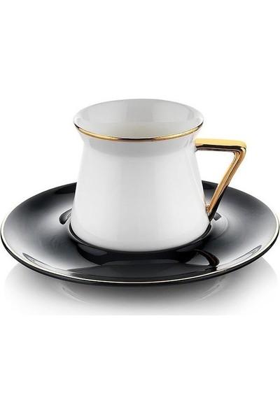 Schafer 6 Kişilik Siyah Gold Porselen Kahve Fincan Takımı
