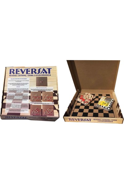 Sorona Ahşap Reversat ( Reversi + Satranç + Dama ) Akıl Ve Zeka Oyunu