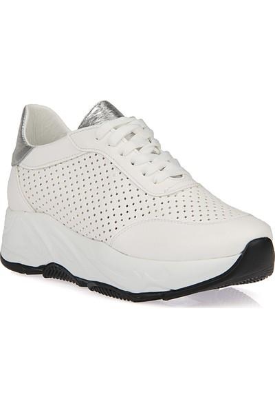 Uniquer Kadın Ayakkabı 9176U 1241 Beyaz - Gümüş