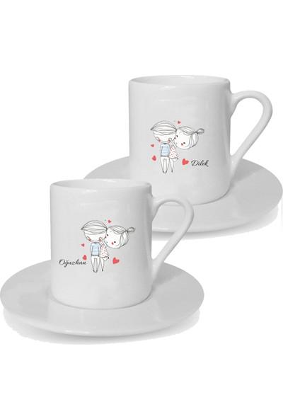 Mutlu Mutfak Atölye Kişiye Özel Tasarım İkili Türk Kahvesi Fincanı Çift