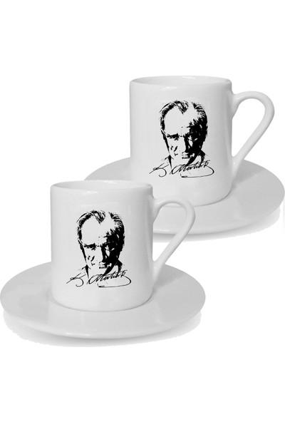Mutlu Mutfak Atölye Kişiye Özel Tasarım İkili Türk Kahvesi Fincanı Atatürk