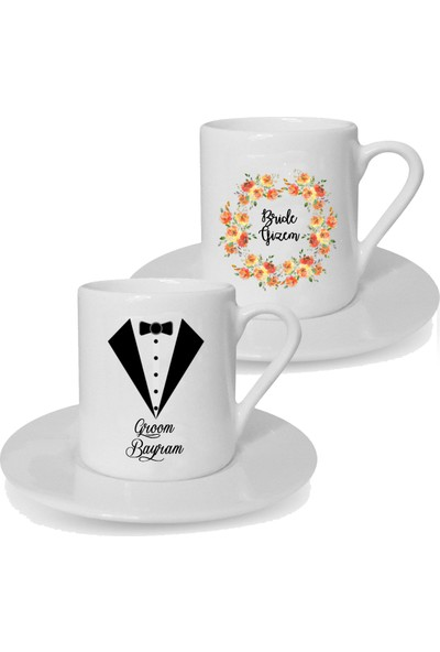 Mutlu Mutfak Atölye Kişiye Özel Tasarım İkili Türk Kahvesi Fincanı Groom Bride