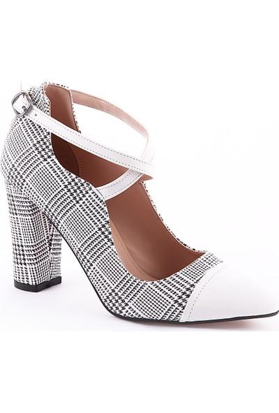 Muggo Women W1111 Ekose Yüksek Topuklu Kadın Ayakkabı
