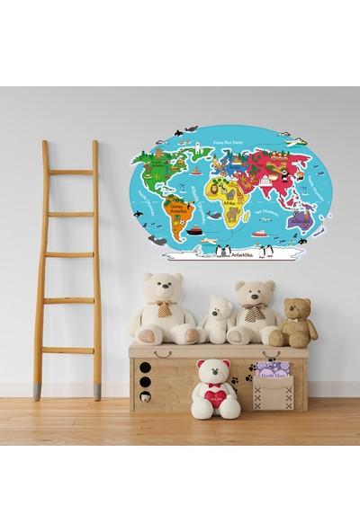 EGA Çocuk Odası Hayvan ve Şehirler Dünya Haritası Çıkartması