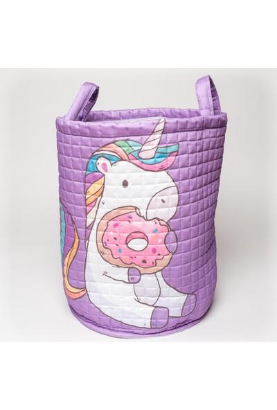 Mimiko Mor Unicorn Desenli Oyuncak ve Çamaşır Sepeti