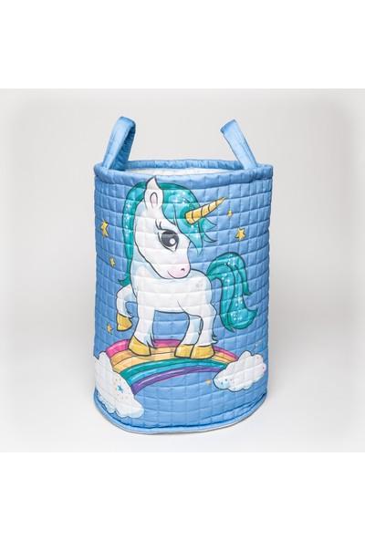 Mimiko Mavi Unicorn Desenli Oyuncak ve Çamaşır Sepeti