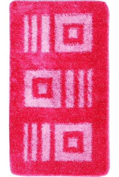 Myevilla Kaymaz Taban Banyo Paspası 2 Parça Simli Polyester Fuşya 100 X 60 Cm