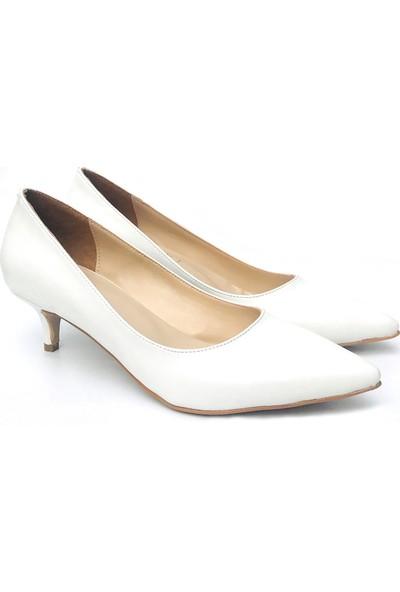 Sothe ELF-1730 Beyaz Deri Bayan Kısa Topuklu Ayakkabı
