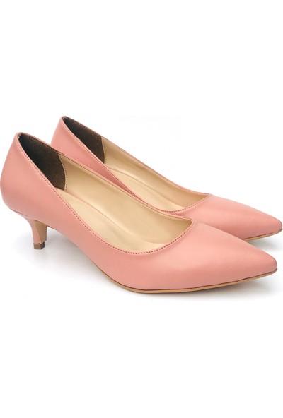 Sothe ELF-1730 Pudra Deri Bayan Kısa Topuklu Ayakkabı