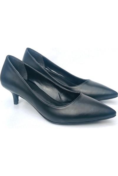 Sothe ELF-1730 Siyah Deri Bayan Kısa Topuklu Ayakkabı