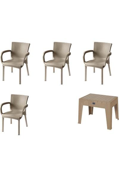 Comfort Özdoğanlar 4 Rattan Sandalye 1 Rattan Sehpa