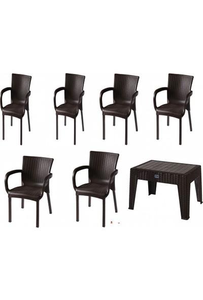 Comfort Özdoğanlar 6 Sandalye 1 Sehpa K.Kahverengi Rattan Takım