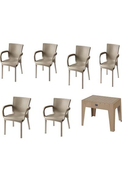 Comfort Özdoğanlar 6 Rattan Sandalye 1 Rattan Sehpa Capicino Takım