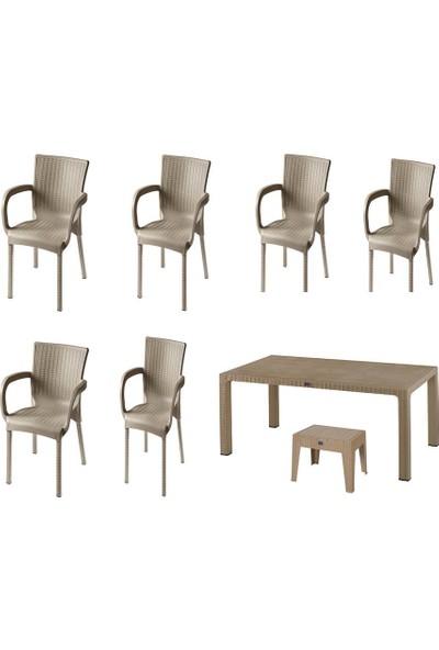 Comfort Özdoğanlar 90X150 Camlı Masa 6 Sandalye 1 Sehpa Capicino Rattan Takım