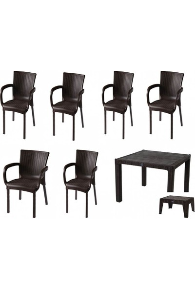 Comfort Özdoğanlar 90X150 Camlı Masa 6 Sandalye 1 Sehpa K.Kahverengi Rattan Takım
