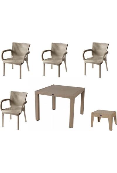 Comfort Özdoğanlar 90X90 Camlı Masa 4 Sandalye 1 Sehpa Capicino Rattan Takım