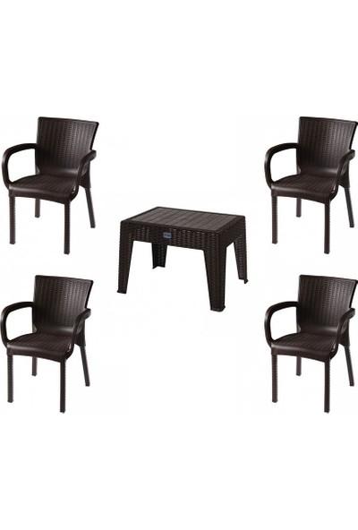 Comfort Özdoğanlar 4 Sandalye 1 Sehpa K.Kahverengi Rattan Takım
