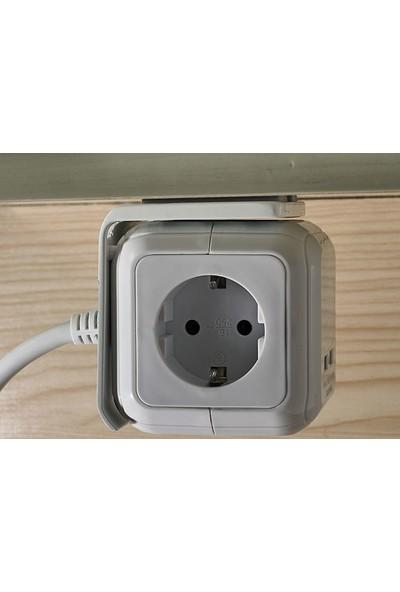 S-Link SPGX-44 2 x USB=2400 Ma H05Vv-F 4'lü Küp Akım Korumalı Priz Çoklayıcı - 1,5 Metre