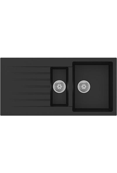 Evform Ukinox Arya D 150 Siyah Tezgah Üstü Granit Eviye
