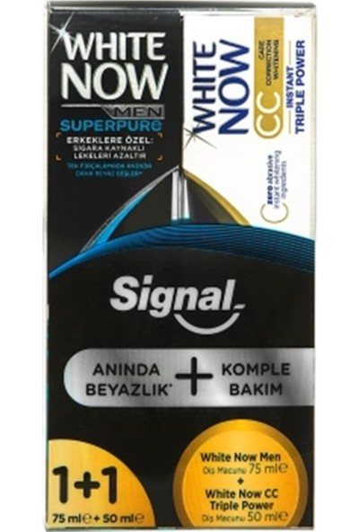 Signal White Now Men Superpure Diş Macunu 75 ml + White Now CC Triple Power Diş Macunu 50 ml
